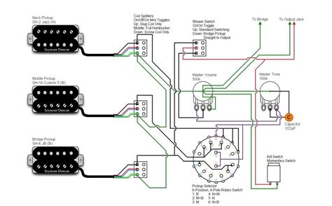 3x Humbucker 6 Way Rotary Switch Kill Switch Blower