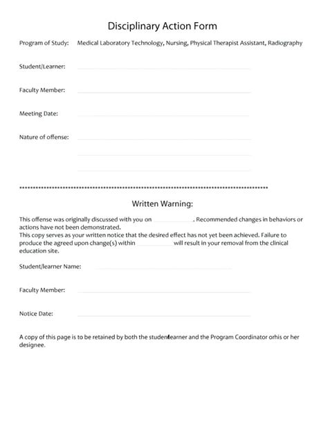 Work Write Up Sle Template Form Written Warning Employee Template