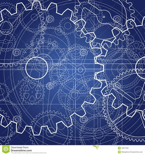 blueprint design free gears blueprint royalty free stock image image 18217556