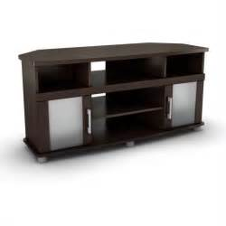 corner tv stands south shore city corner lcd chocolate finish tv stand