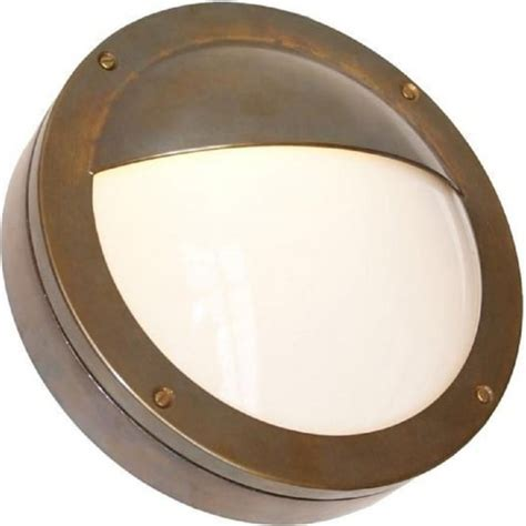ip44 garden wall light circular antique brass frame opal