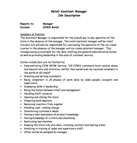 8 Assistant Manager Job Description Templates Free Premium Templates Store Manager Description Template