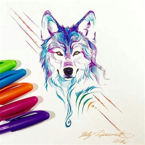 colorful drawings 22 amazing collection of wolf drawing drawings design