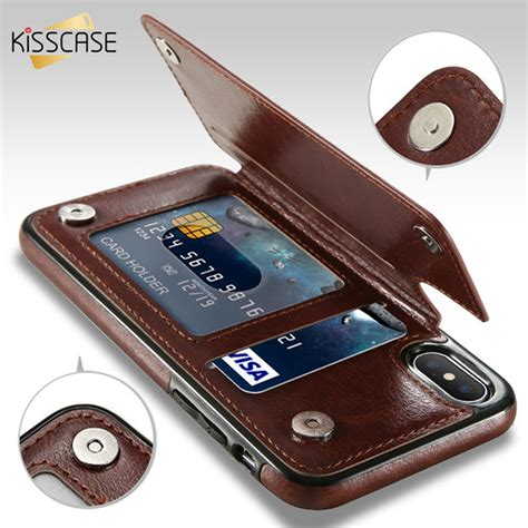 Iphone 8 Luxury Leather With Card Slot kisscase retro pu leather for iphone 8 plus card slot holder cover for iphone x 8 7 6 6s