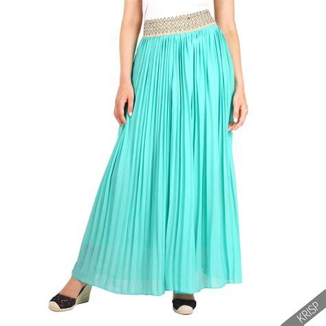 womens plain pleated elasticated waist vintage