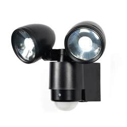 Led Security Light Fixtures Sirocco 2 Light Led Security Spotlight W Pir Sensor Black