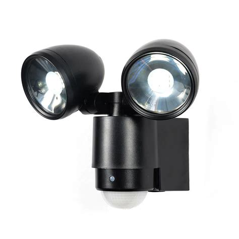 2 light wall light sirocco 2 light led security spotlight w pir sensor black