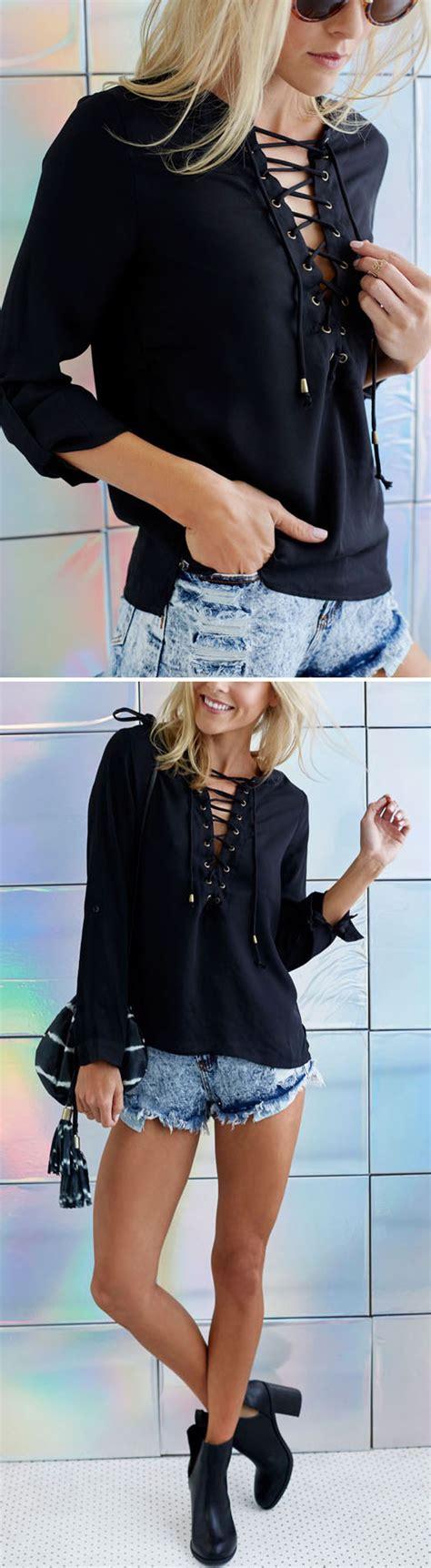 Lace Up Front Chiffon Blouse fashion lace up front chiffon blouse oasap blusas