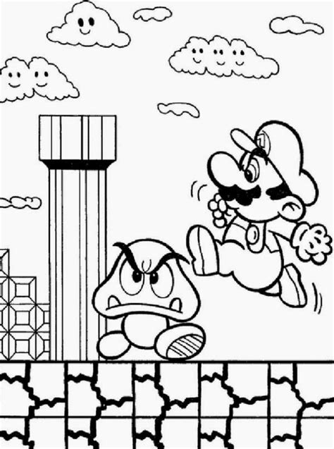 Online Coloring Super Mario Bros Coloring Pages For Kids The Match Free Printable Coloring Pages