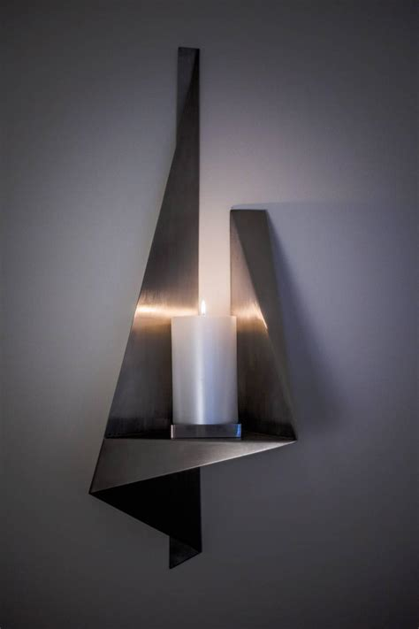 Handmade Wall Sconces - large candle wall sconce custom stainless steel usa