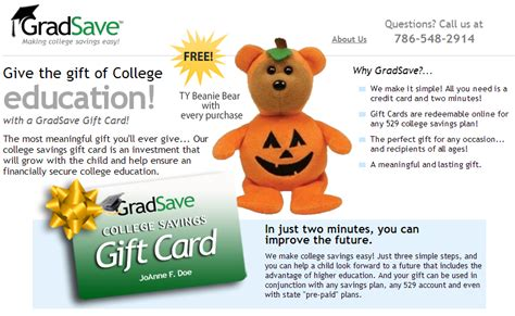 College Savings Gift Card - give the gift of education with gradsave