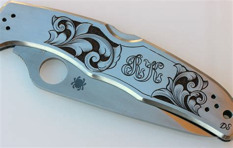 engraved knife engraved spyderco knives david sheehan engraver