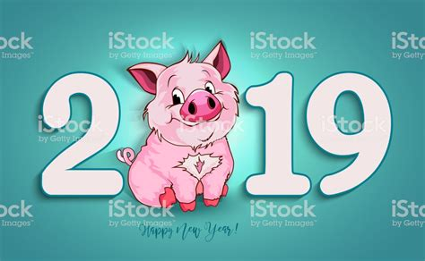 cute funny pig happy  year chinese symbol    year excellent festive gift card vector