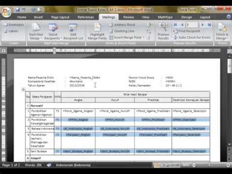 membuat rapor dengan mail merge membuat raport dengan mail merge dan excel sebagai