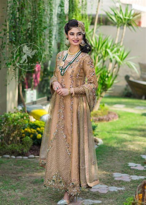 design dress 2017 latest pakistani designer dress 2017 peach party wear maxi