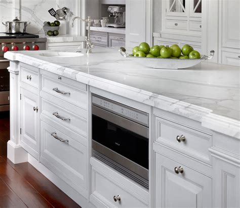 microwave in island in kitchen calcutta marble countertop french kitchen o brien harris