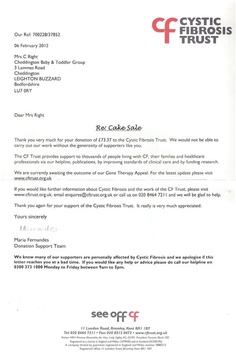 Introduction Letter Of Charitable Trust One Charity Helping Others