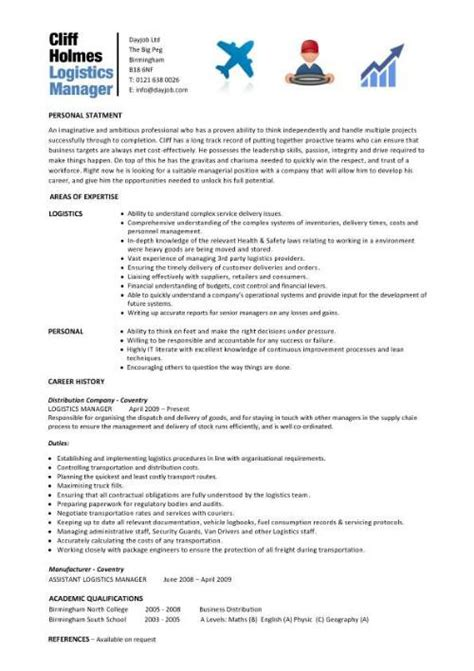 logistics manager resume template logistics manager cv template exle description