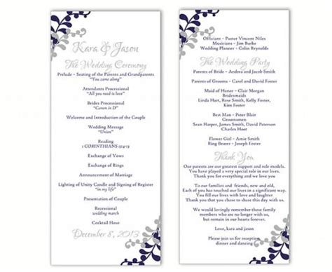 free downloadable wedding program template that can be printed wedding program template diy editable word file instant