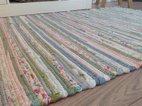 washable rag rugs recycled pastel light multi colours soft washable cotton rag rug