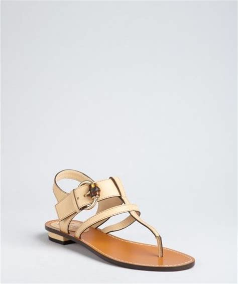 Gucci Buckle Sandals by Gucci Leather Bamboo Buckle Sandals In Beige