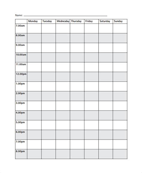 template revision timetable sle daily timetable template 9 free documents
