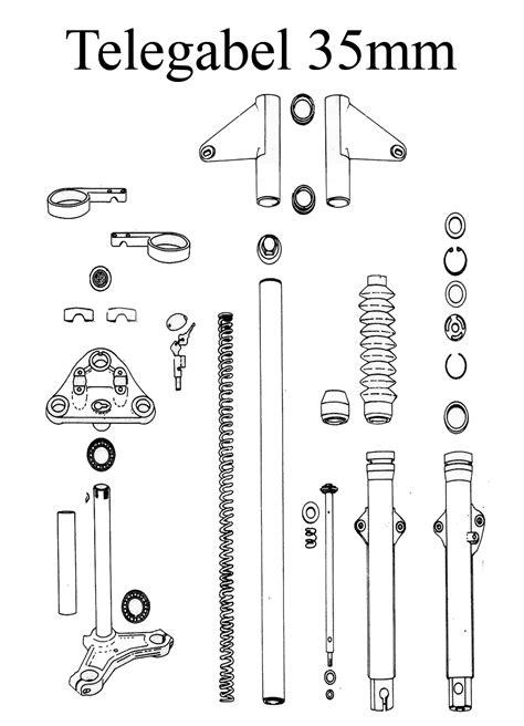 Motorrad Gabel Zeichnung by Ersatzteile F 252 R Mz Ts 125 150 Im Ddr Motorrad De