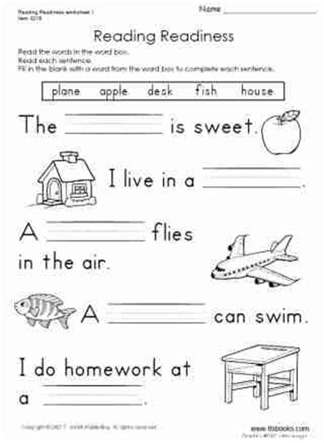 Reading Readiness Worksheets by Reading Readiness Worksheet 1 Tlsbooks