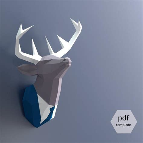 Papercraft Deer Head Make Your Own Trophy Paper Trophy Pdf Papercraft Deer Template