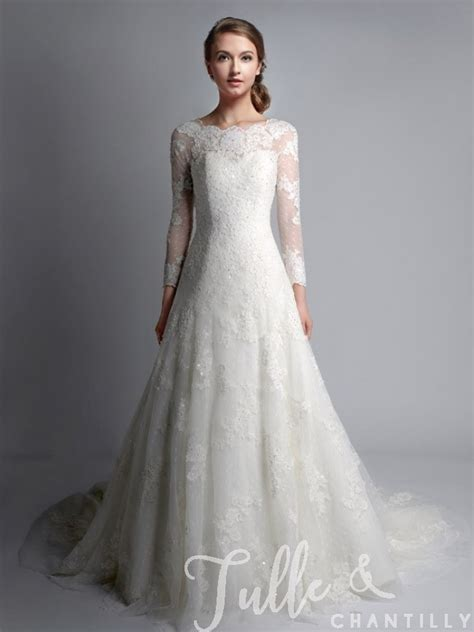 vintage bateau neck long sleeves wedding gown tbqwc024