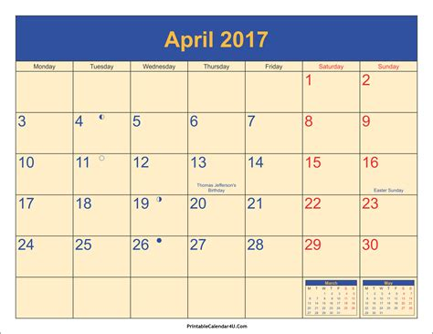 2017 Calendar With Holidays Printable April 2017 Calendar With Holidays 1 Printable Calendar