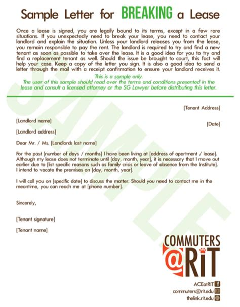 breaking lease letter template sle letter to landlord for free formtemplate
