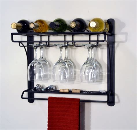 Wall Wine Rack Metal by Wall Mounted Black Metal Wine Rack With Glass Holder And