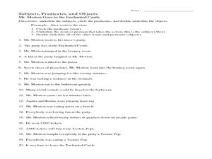 Subjects Objects And Predicates With Worksheet subjects predicates and objects 6th 7th grade worksheet