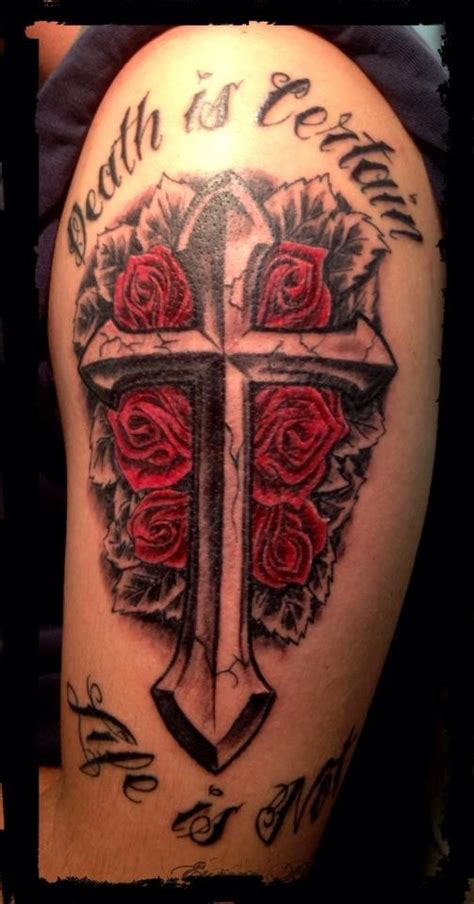 color cross tattoo black gray cross praying models picture