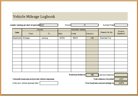 7 mileage log book mac resume template