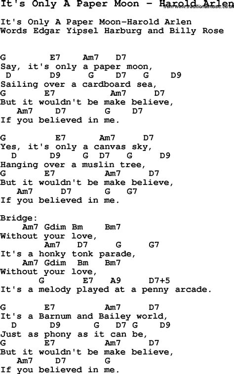 Paper Lyrics - song it s only a paper moon by harold arlen song lyric