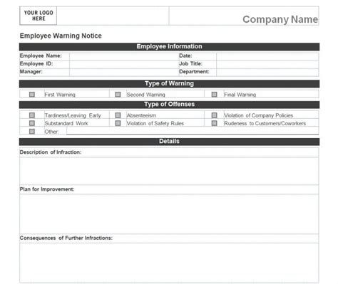 notice form exle employee warning notice 187 template