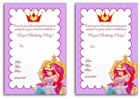 princess invitations printable princess birthday invitations birthday printable