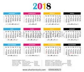 Calendar 2018 Weeks Vector Template Color 2018 Calendar Monday Stock Vector