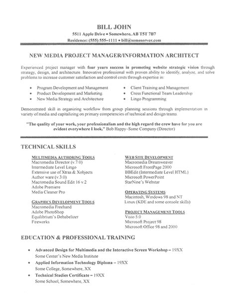 Project Manager Resume Template by It Project Manager Resume Exle