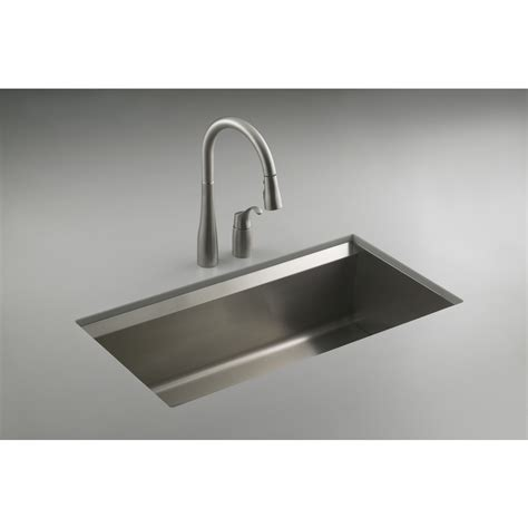 Steel Kitchen Sinks Shop Kohler 8 Degree Stainless Steel Single Basin Undermount Kitchen Sink At Lowes
