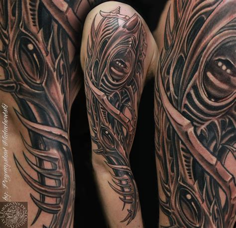 organic tattoo ink organic bio sleeve done by przemek malachowski