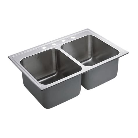 Moenstone Kitchen Sinks Moen M Dura Commercial Drop In Stainless Steel 33 In 4 Bowl Kitchen Sink Featuring
