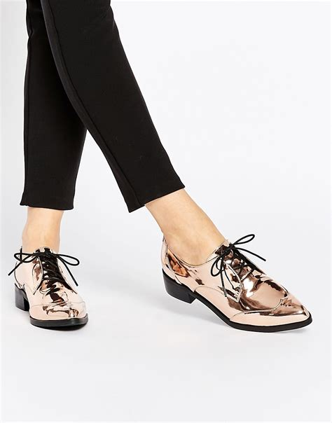 asos asos mercury lace up pointed shoes at asos