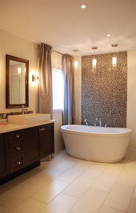 bathroom tile accent wall tile accent wall bathroom transitional with flooring contemporary tub and shower