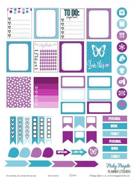 printable weekly planner retro picky purple planner stickers free printable download