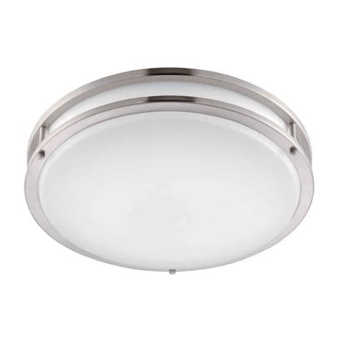 Envirolite 16 In Brushed Nickel White Low Profile Led Low Profile Ceiling Lighting