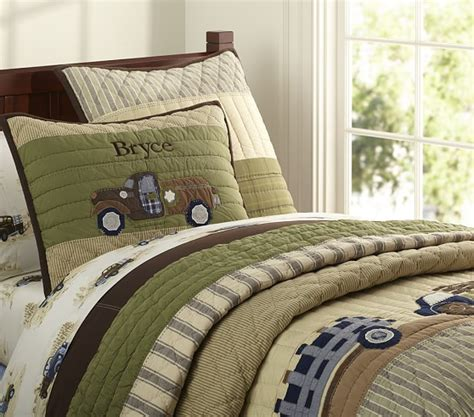 pottery barn boys bedding bryce trucks quilted bedding pottery barn kids
