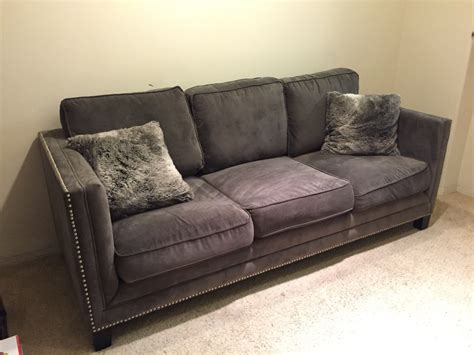 studded sectional grey sofa with studs letgo home grey studded in arco